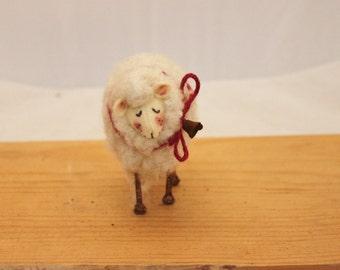 Sheep Little White Sheep Prim Needle Felted Sheep # 2346