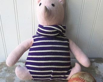 Vintage stuffed handmade Piglet stuffed pig Winnie The Pooh animal stuffie plushie  Vintage kids room decor