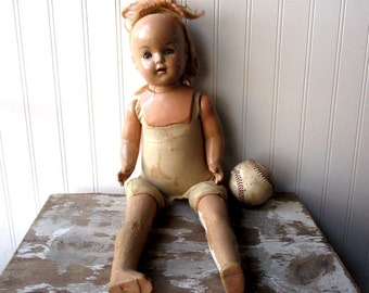 Shabby vintage doll composition and cloth girl doll girl mama doll 20 inch shoulder plate bad wig sweet creepy doll