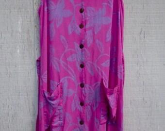 Sleeveless Rayon Maxi Dress Raspberry Lavender Vintage 90's Grunge Boho Chic Summer Festival Sundress SZ M FREE Handmade Earrings Included!