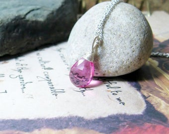 Pink Quartz Briolette Pendant, Sterling silver Gemstone Necklace, Ready to Ship