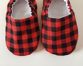 Baby Shoes, Baby Moccasins, Lumberjack Plaid