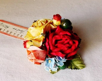 Cherry Red Powder Blue Ginger peach Roses Mixed bunch Vintage style Millinery Flower spray Bouquet corsage