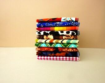 Cowboy Cloth Napkins - 10 Western Napkins - Country Decor - Cattle Rustler Reusable Paper Towels - Unpaper - Ranch Hand - 10 x 12