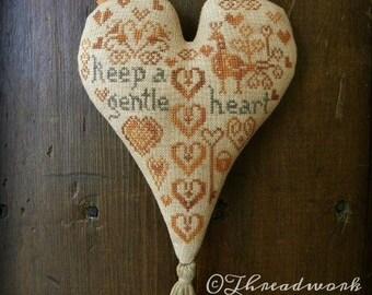 Primitive Cross Stitch Pattern - Cinnamon Hearts