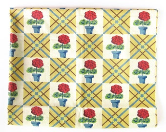 "Vintage FABRIC - 40s 50s Cotton - FLOWERS Flowerpots / Checkerboard Plaid in Yellow, Blue and Red / Puritan Print / 34"" Wide"