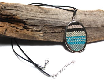 Handwoven Blue Striped Pendant   Woven Fiber Jewelry   Modern Art Necklace   Weaving Gifts for Her   Boho Statement Necklace   A25