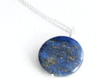 Lapis Lazuli Necklace, Cobalt Blue Stone Jewelry, Gold Pyrite