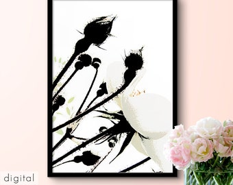 Abstract Rose Print Black & White Buds Little Colour Flower Petals Minimalist Floral Art Nature Printable Modern Rose Lover's Gift Download