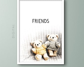 Teddy Bear Friends Nursery Print, Teddies in Gray & Yellow Sweaters, Friendship, Printable Childhood Memories Sentimental Wall Art Kids Gift