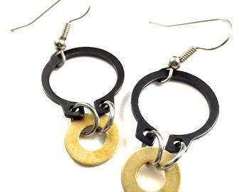Brass Dangle Earrings Black HardwareJewelry Industrial Washers