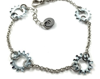 Chain Bracelet Steampunk Hardware Jewelry Industrial Lock Washers Eco Friendly