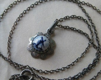 Windmill Delft Blue White Silver Necklace Ceramic Round Cab Pendant