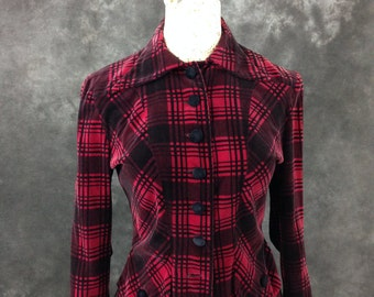 1940's jacket Mickey Miss Fox black and mulberry plaid velveteen jacket