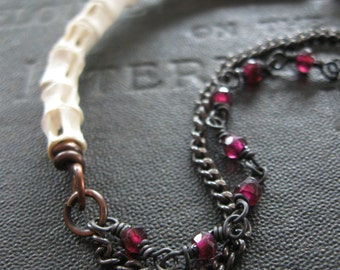 Fish Vertebrae and Garnet Bracelet