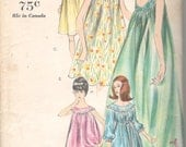 1960s Vogue 5725 Misses Goddess Nightgown and Panties Pattern Baby Doll Pajamas Womens Vintage Sewing Pattern Size 14 Bust 34