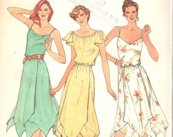 1980s Butterick 3791 Misses Pullover Sundress Pattern Handkerchief Hem Womens Vintage Sewing Pattern Size 14 16 18 Bust 36 38 40 UNCUT