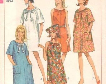 Simplicity 7138 1960s Jiffy Misses Robe Dress and Hat Pattern  Womens Vintage Sewing Pattern Size Small Bust 31 32