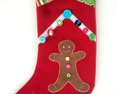 Christmas stocking  - Personalized - gingerbread boy - family gifts -  family traditions - contemporary designs - grandchild gift