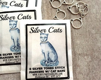 Cat stitch markers, silver toned