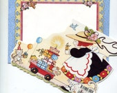 Vintage Mary Engelbreit Birthday Card Bright Colors Die Cut Happy Birthday Kitten Wagon Cake Sweet Old Fashioned Card and Decorated Envelope