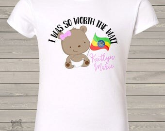 Worth the Wait girl teddy bear adoption personalized t-shirt - adorable way to announce MADT1-001-2