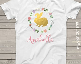 Easter bunny gold foil or glitter with circle floral wreath shirt - adorable personalized tshirt for your little girls Easter SNLE-006-a