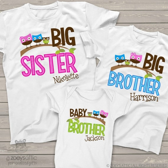matching sister brother sibling shirts set of three matching owl shirts for ANY combination MOWL1-003