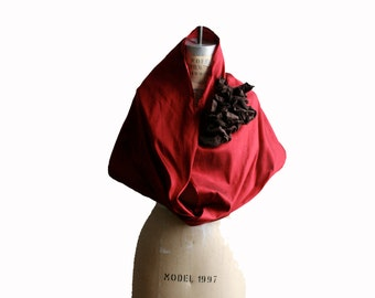 Silk Infinity Scarf, Red Silk Scarves , ruffle scarves, fashion accessories, cowl scarf, circle scarves, Flower Scarf,  Mother's Day Gifts