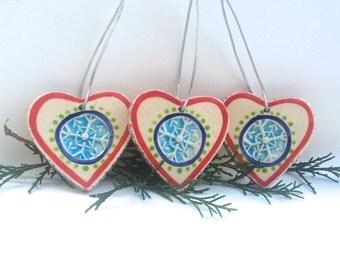 Set of 3 Handmade Heart Christmas Ornaments