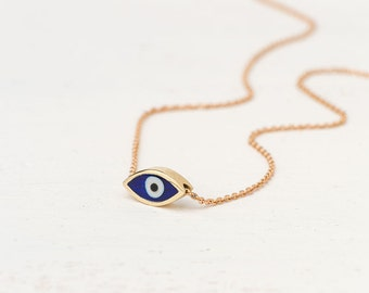 Extra Tiny Evil Eye Necklace Solid Gold Evil Eye Pendant 14k solid Gold Necklace Gift for Her Anniversary gift Bridal minimal necklace