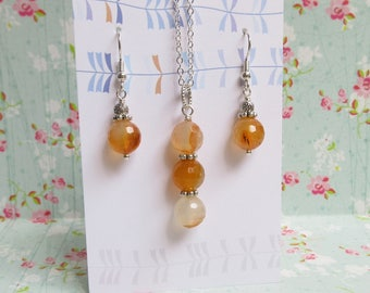 Red Agate Necklace Earrings Set, Silver Jewelry, Peach Gemstone, Faceted Agate Beads, Gift For Mother