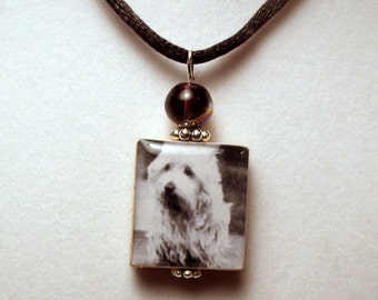 WESTIE Jewelry / Scrabble Pendant with Cord / Beaded / Dog Charm / West Highland White Terrier