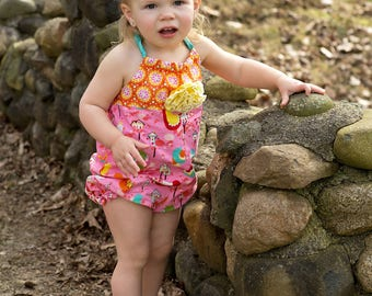 Summer Romper - Baby Girls - 1st Birthday Gift - Toddler Outfit - Pink Bubble Romper - Hair Clip - Boutique - 6 months to 4 years