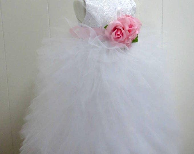Full Length Flower Girl Dress - Blush - Little Girl Confirmation - Wedding - Toddler - Boutique White Dress - Custom Colors - 2T to 8 Years