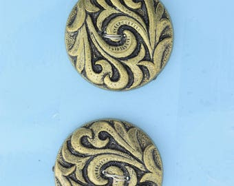 Button set of 4 , 2 hole , Plated plastic , Antique Gold finish , sold 4 each OB9540AG