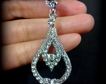 Bridal Clip On Earrings, Dangle Bridal Earrings, Vintage Style Wedding Earrings, Swarovski Crystal Wedding Jewelry, Gift for Her, ANABELLA