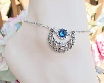 Moon Anklet Women's Ankle Bracelet Silver Anklets Swarovski Crystal Women's Anklet Capri Blue
