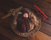 Newborn aviator hat with goggles and scarf in shades of brown
