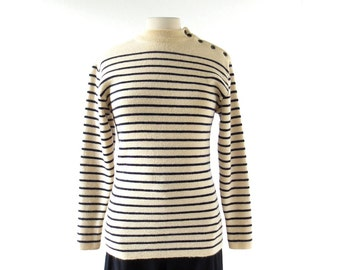 Vintage Sailor Sweater   Breton Shirt   Wool Sweater   Made in France   Small S