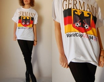 Germany World Cup Vintage 1994 White Crisp GERMANY World Cup Soccer USA Androgynous Cotton Ringer T Shirt (m l)
