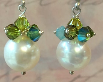 Swarovski Crystals and Freshwater Pearl Drop Earrings on Sterling Lever Backs, Bridal Party Gift, Colorful Earring
