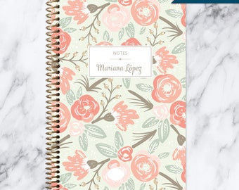NOTEBOOK personalized journal | lined notebook | personalized gift | stocking stuffer | spiral bound notebook | sage pink gold floral