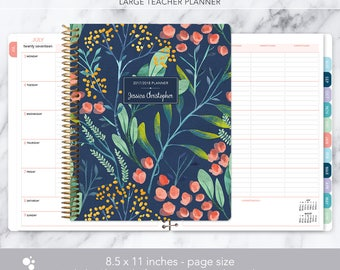 teacher planner 8.5x11 | 2017-2018 lesson plan calendar | weekly teacher planner | personalized teacher planbook | navy watercolor floral