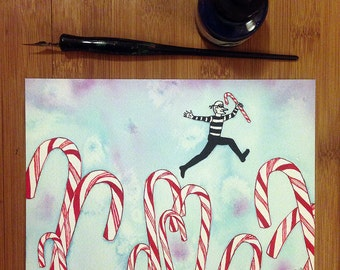 Whimsical Watercolor Painting, Small Art, Whimsical Wall Art, Candy Canes, Fantasy Art, Funny Art, Burglars, Robbers,Christmas Art, Ice Blue