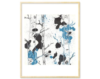 Woodland Decor, Watercolor Landscape Print, Abstract Trees, Forest Nursery, Birch Tree Decor, Landscape Art, Forest Print, 8.5x11,Abstracted