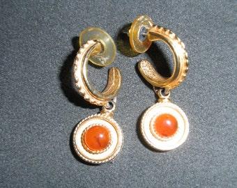 Retro Ben-Amun 80's Hoop / Dangle Earrings, Signed