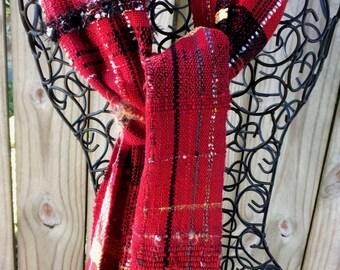 Handwoven Scarf SAORI Red Fiesta