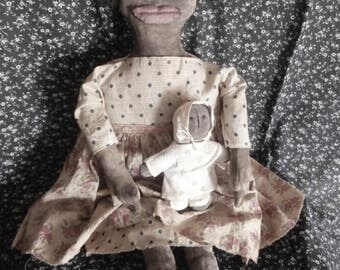Primitive Handmade Folk Art Black Doll and Her Baby