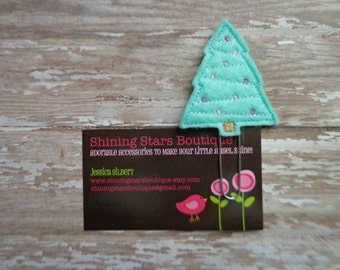 Planner Clips - Mint Green Christmas Tree With Lavender And Light Pink Ornaments Paper Clip Or Bookmark - Holiday Accessory For Books